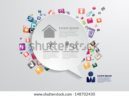 Modern business bubble speech template with home furniture icons, Home improvement and decoration service concept idea, Vector illustration modern template design - stock vector