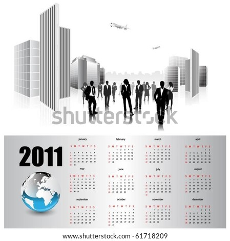modern business calendar for 2011. - stock vector