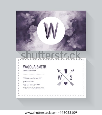 Modern business card design template watermark stock vector hd modern business card design template with watermark background hipster style vintage style with colourmoves
