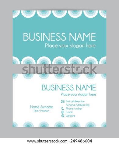 Modern business card. Flat design. Front and back vector set I. - stock vector