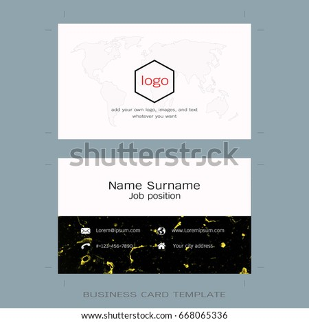Modern business card layout templates world stock vector 2018 modern business card layout templates world map and marble gold texture background easy to wajeb Gallery