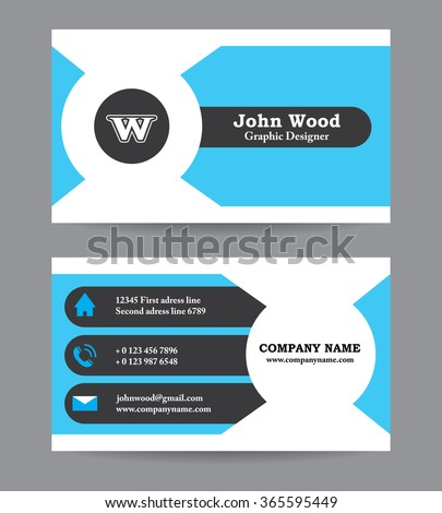 Modern business card template flat design stock vector hd royalty modern business card template in flat design abstract light background personal plain business card wajeb Gallery