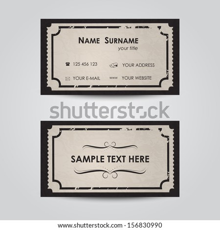 Modern business card template - vintage ticket theme  - stock vector