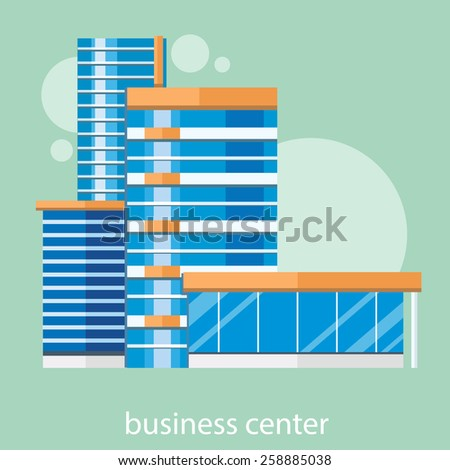 Modern business center concept with item icons in flat design. Building glass - stock vector