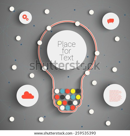 Modern Business Concept , Info Graphic Elements. Idea Light bulb with many Solutions.  - stock vector