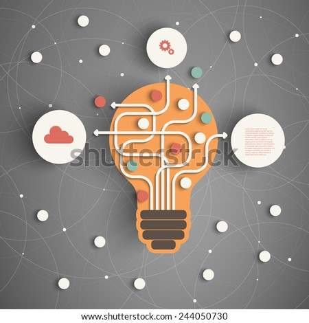 Modern Business Concept , Info Graphic Elements. Idea Lightbulb with many Solutions. - stock vector
