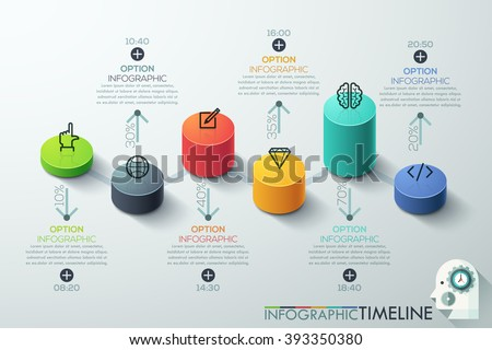 Modern business cylinder 3d style options banner. Vector. can be used for workflow layout, diagram, number options, step up options, web design, infographics, timeline. - stock vector