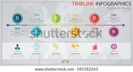 Modern business horizontal timeline process chart infographics template. Vector banner used for presentation and workflow layout diagram, web design. Abstract elements of graph 6 steps options.