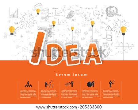 Modern business idea text with drawing concepts in flat design for web, mobile applications, seo optimizations, business, social networks, e-commerce,planning and teamwork - stock vector