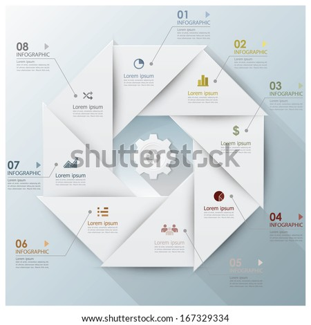 Modern Business Infographic Propeller Origami Style Design Template - stock vector