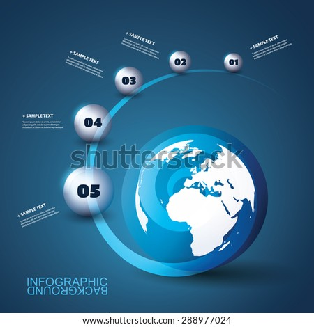 Modern Business Infographic Template with Earth and Globes - stock vector