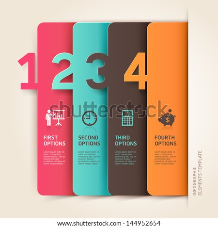 Modern business infographics number options template. Vector illustration. can be used for workflow layout, diagram, business step options, banner, web design - stock vector