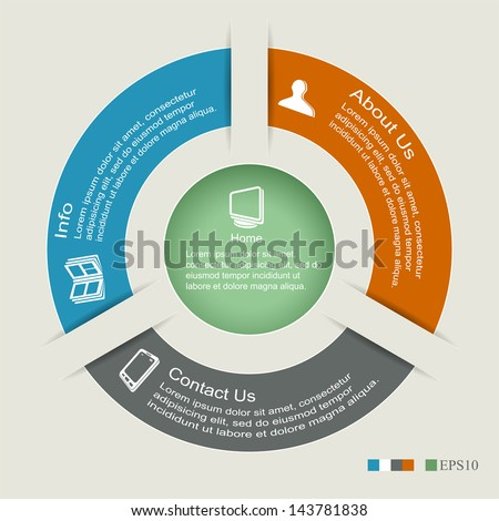 Modern business options banner, circle infographics, can be used for diagram, circle cutout lines, number options, illustration. - stock vector