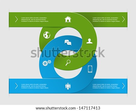 Modern business options banner, two circle infographics, can be used for diagram, circle cutout lines, step up options, illustration.