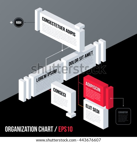 Modern business organization chart template with 3d isometric elements on gray background. Neutral corporate style.