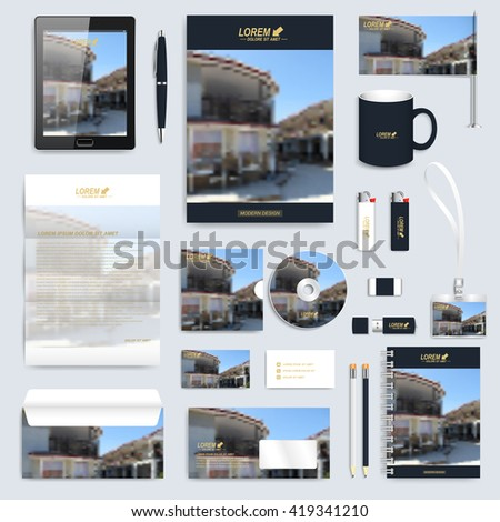 Modern business set of vector corporate identity template. Abstract design  presentation brochure, leaflet, envelope, card, badge, cup, tablet pc, pen, pencil. Stationery mock-up with blur background. - stock vector