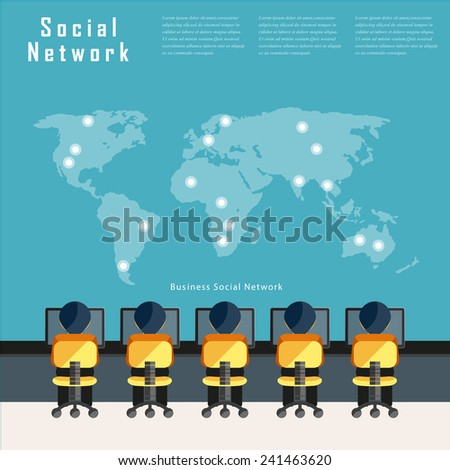 Modern business Social media network connection concepts in flat design . - stock vector