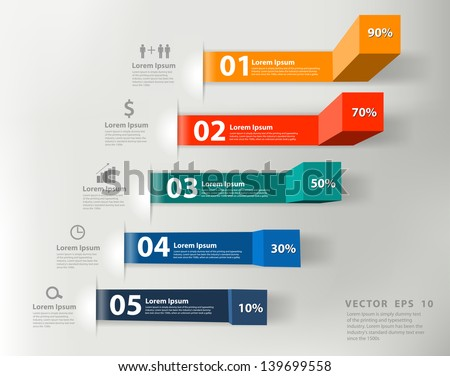 Modern business steps to success charts and graphs options banner. Vector illustration modern design template  - stock vector