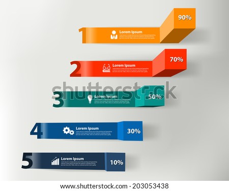 Modern business steps to success charts and graphs options info graphic banner. Vector illustration modern numbers design template workflow layout, diagram, step up options - stock vector