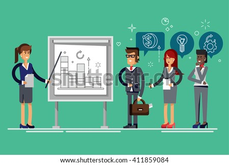 Modern business teacher giving lecture or presentation to a group of employees. Standing in front of whiteboard. Modern flat style vector illustration. - stock vector