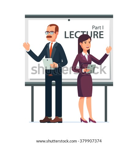 Modern business teachers giving a lecture or presentation. Standing in front of whiteboard with tablet computers in hands. Modern flat style vector illustration isolated on white background. - stock vector
