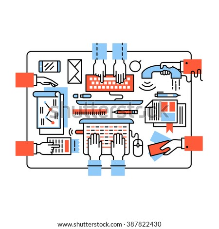 Modern business team working together. Design, coding, sales, accounting and marketing sitting at the same desk. Thin line art flat illustration with icons. - stock vector