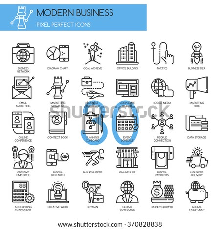 Modern business , thin line icons set - stock vector