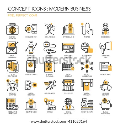 Modern business , thin line icons set ,Pixel Perfect Icons - stock vector