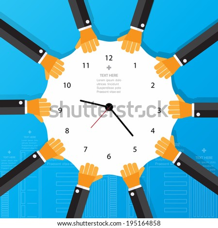 Modern business time work concepts in flat design for web, mobile applications, seo optimizations, business, social networks, e-commerce,planning and teamwork - stock vector