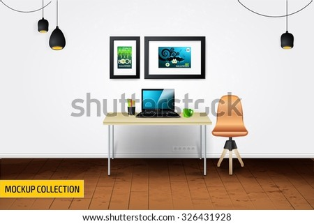 Modern Business workplace with computers mockup template. - stock vector