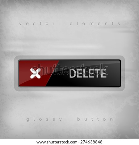 Modern button DELETE with color space for icons. Vector design elements. - stock vector
