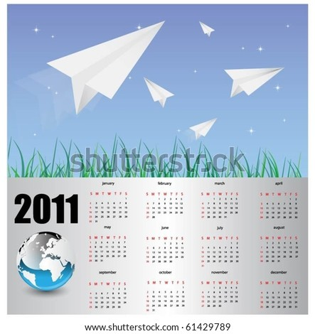 modern calendar for 2011. - stock vector
