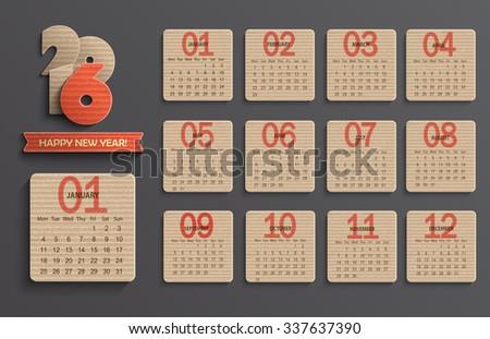 Modern calendar 2015 in a paper official style. Cardboard Calendar Design. Vector illustration. - stock vector