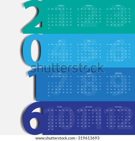 Modern calendar 2016 in multicolor paper style.Vector/illustration.