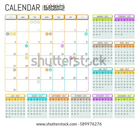 Modern Calendar 2017 Template Design Place Stock Vector 589976276