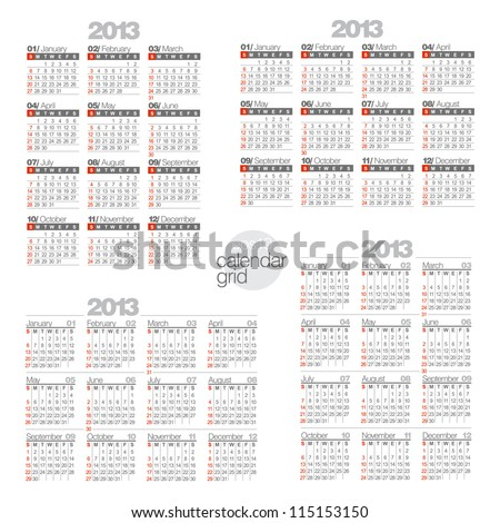 Modern calendars on white background. Two horizontal and two vertical calendar. - stock vector