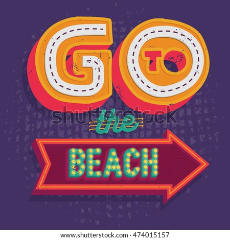 Modern calligraphic summer beach vector design .Summer time background. Vivid cheerful summer poster, vector illustration.