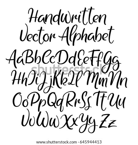 Modern Calligraphy Font Handwritten Brush Letters Uppercase Lowercase Hand Lettering Alphabet For