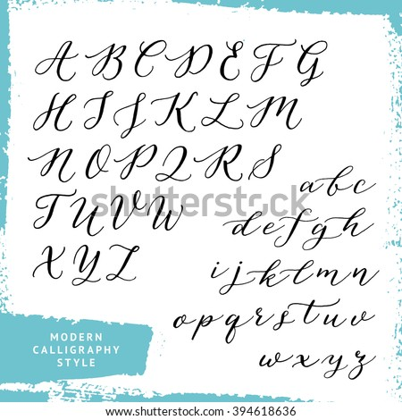 Modern Calligraphy Style Handwritten Script Alphabet Uppercase And Lowercase Letters