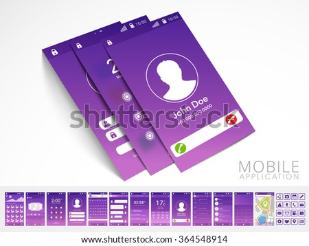 Modern Calling UI, UX or GUI template layout with flat web icons and different interface screens for Designing, Responsive Website and Mobile Apps. - stock vector