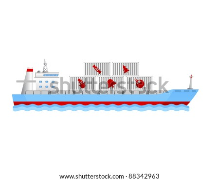 modern cargo ship with containers holding christmas objects - stock vector