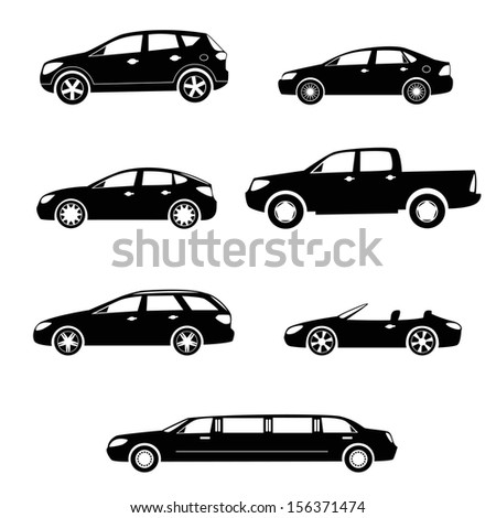 Modern cars silhouettes collection - stock vector
