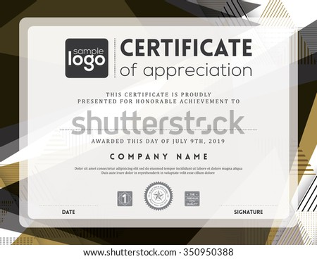 Modern certificate abstract graphic background frame design template - stock vector