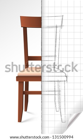 Modern chair and page draft (with page curl) divided by the sketch line vector illustration - stock vector