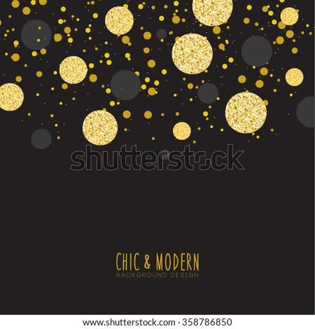 Modern Chic Black Gold Background Vector Design - stock vector