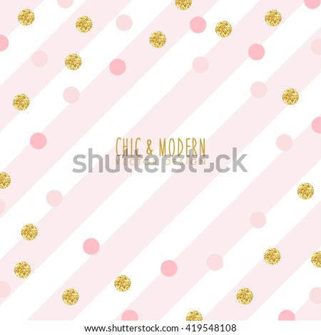 Modern Chic Pink Gold Background Vector Design - stock vector