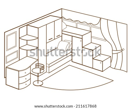 modern children's room interior (vector illustration) - stock vector