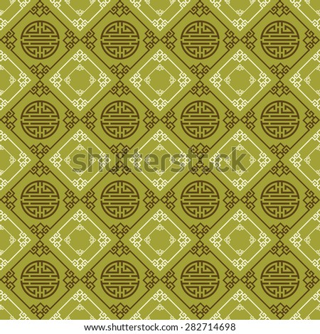 Modern chinese stylish texture geometric tiles wallpaper pattern background in retro style for your design vector illustration - stock vector