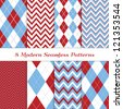 Modern Christmas Backgrounds. 8 Seamless Chevron and Argyle Patterns in Blue, Dark Red, White and Silver. Global colors - easy to change all patterns. Nice background for Scrapbook or Photo Collage. - stock photo