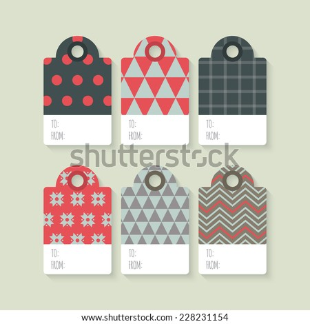 Modern Christmas gift tag flat  stylish design. Set of Christmas tags with geometrical patterns - stock vector